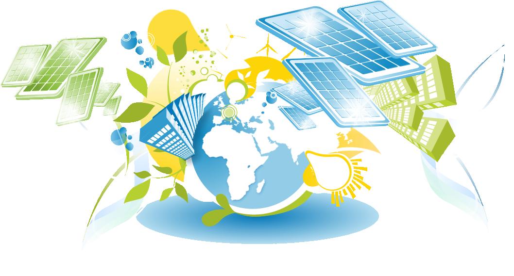 Mittig ein Globus, darum befinden sich stilisierte Illustrationen von Solarpanels, Hochhäusern, Glühbirnen und Windrädern.